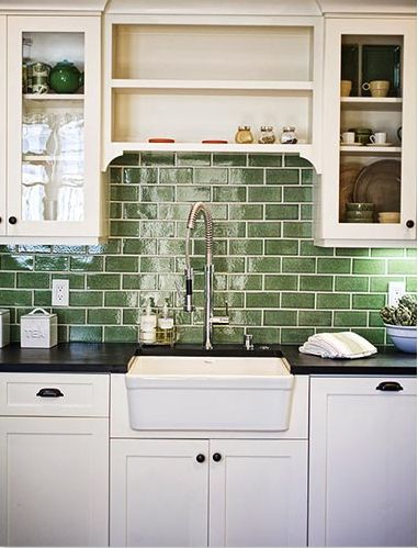 Ceramic Tile Fantasia Showrooms Green Backsplash Kitchen