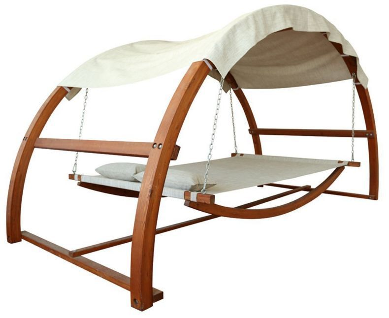 outdoor garden patio bed double hammock swing 2 person canopy wooden stand yard gardenoasis. Black Bedroom Furniture Sets. Home Design Ideas