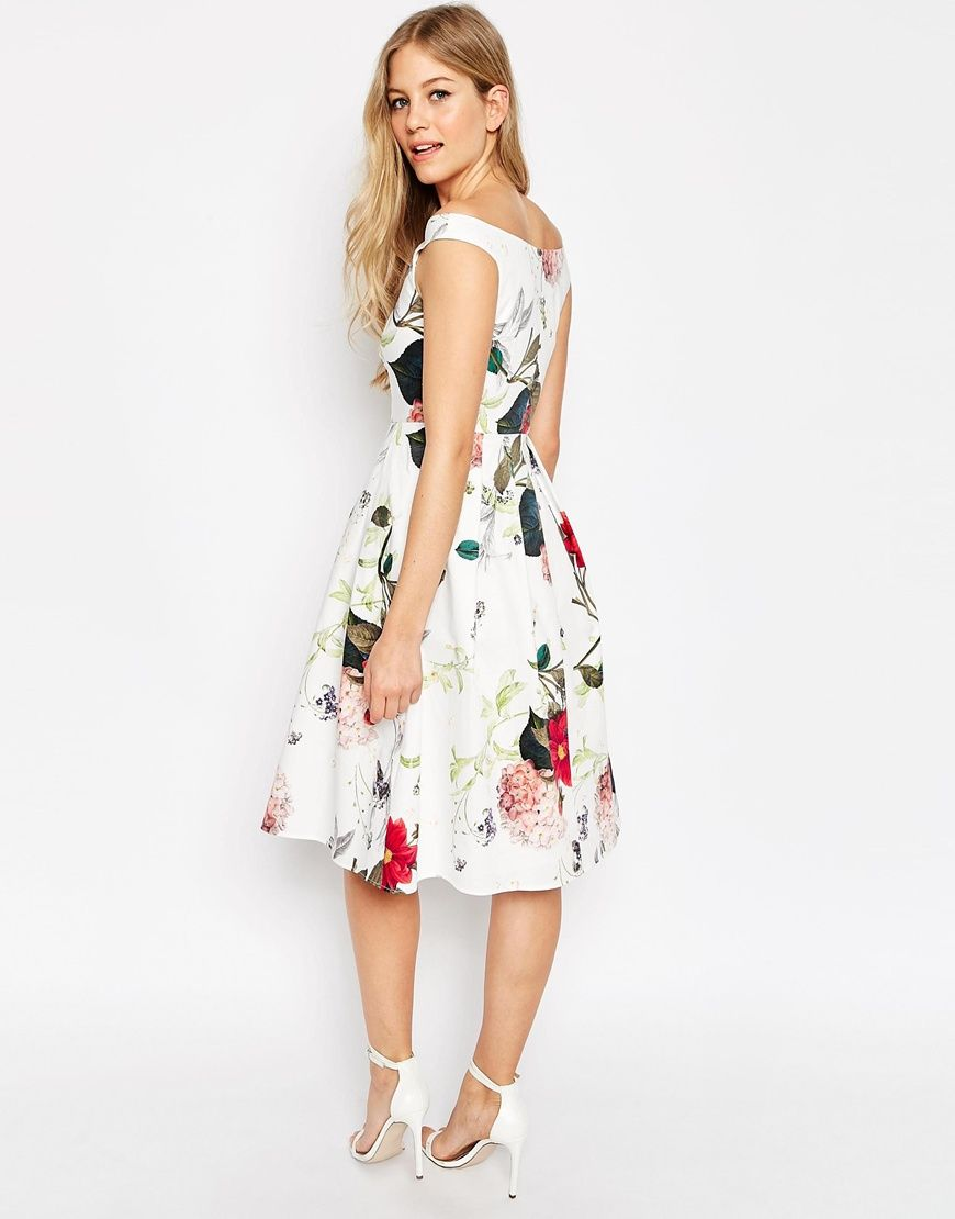 Image of asos off the shoulder midi prom dress in botanical floral