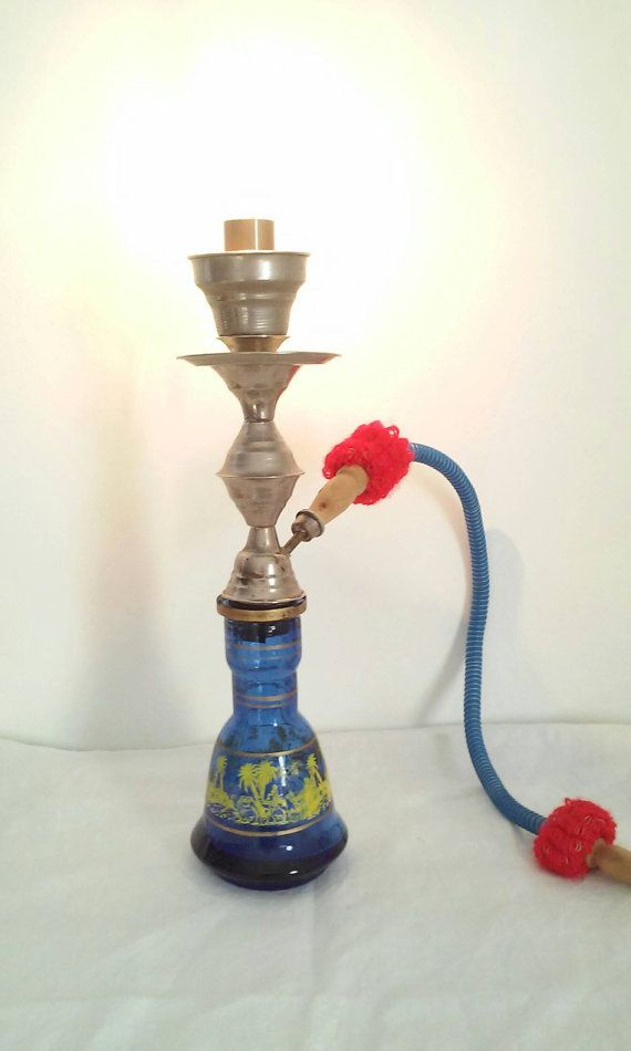 Original Lamp Made Entirely With A Hookah Vintage Blue Glass