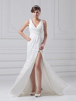 V Neck Allover Lace Wedding Dress with Surplice Bodice and