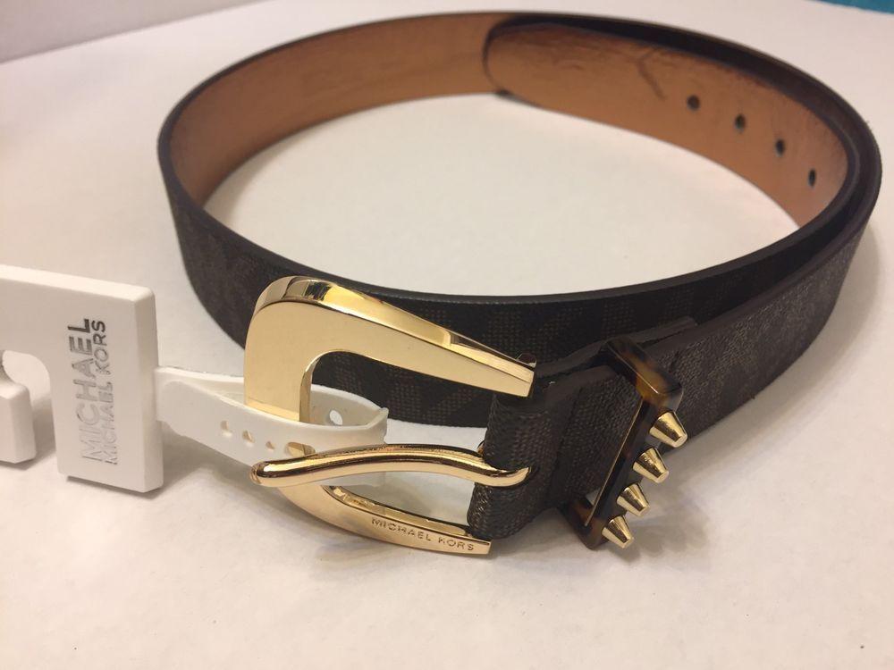 819945a67894 NWT Michael Kors Belt ~Large~MK Logo Belt Women s Brown 552374C Gold Buckle  NEW  MichaelKors  WaistBelt