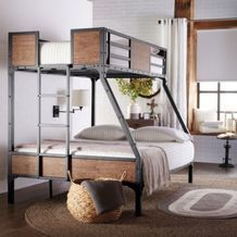 jennell industrial twin-over-double metal/wood bunk bed from sears