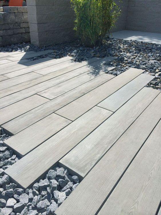 Giardino moderno pavimentazione mista a brecciolino per for Decorazioni giardino aiuole