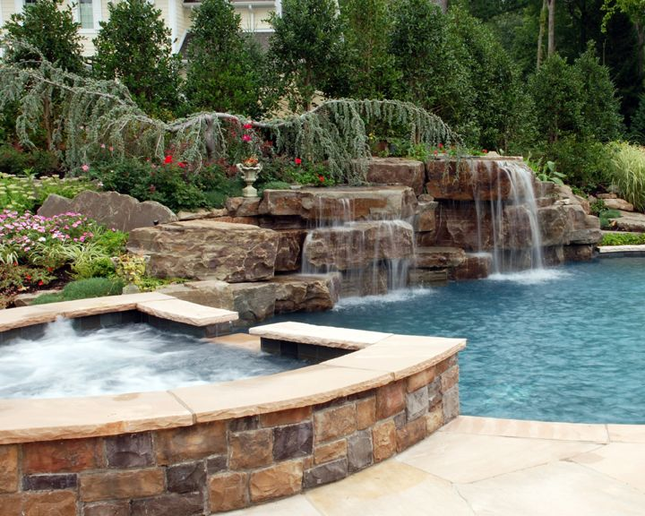 High Quality Impressive Luxury Spa And Swimming Pool Waterfall Design And Installation  Upper Saddle River New Jersey