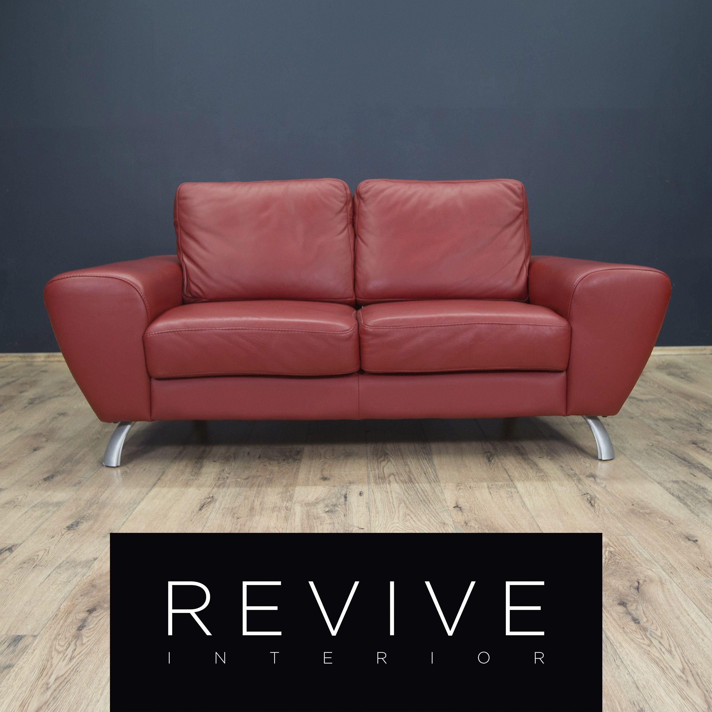 Designer Leder Sofa Rot Zweisitzer Echtleder Couch Modern 1816