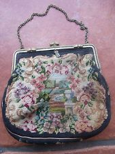 Antique Needlework Embroidery Ladies Handbag Petit Point Garden View Flowers Bag