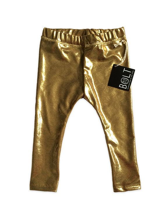 2680cc5a816de Metallic Gold Leggings Baby Girl by BoltNo3 on Etsy, $20.00 | Little ...