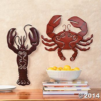 Beautiful Crab And Lobster Themed Kitchen | Crab U0026 Lobster Wall Décor