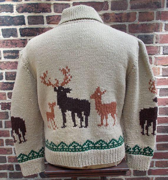 Vintage Men's Moose/Deer Cowichan Zip Up Shawl Collar Cowichan Sweater, Size Large