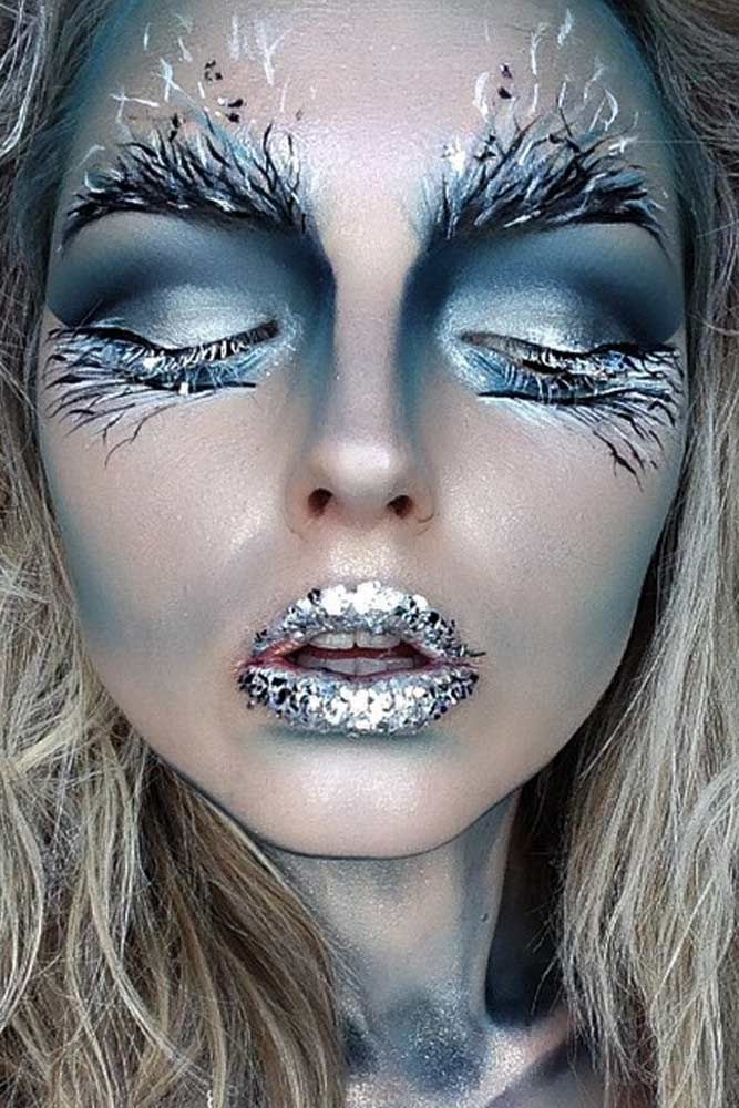 Pretty Makeup With The Eye Glitters 2052994: 39 Sexy Halloween Makeup Looks That Are Creepy Yet Cute