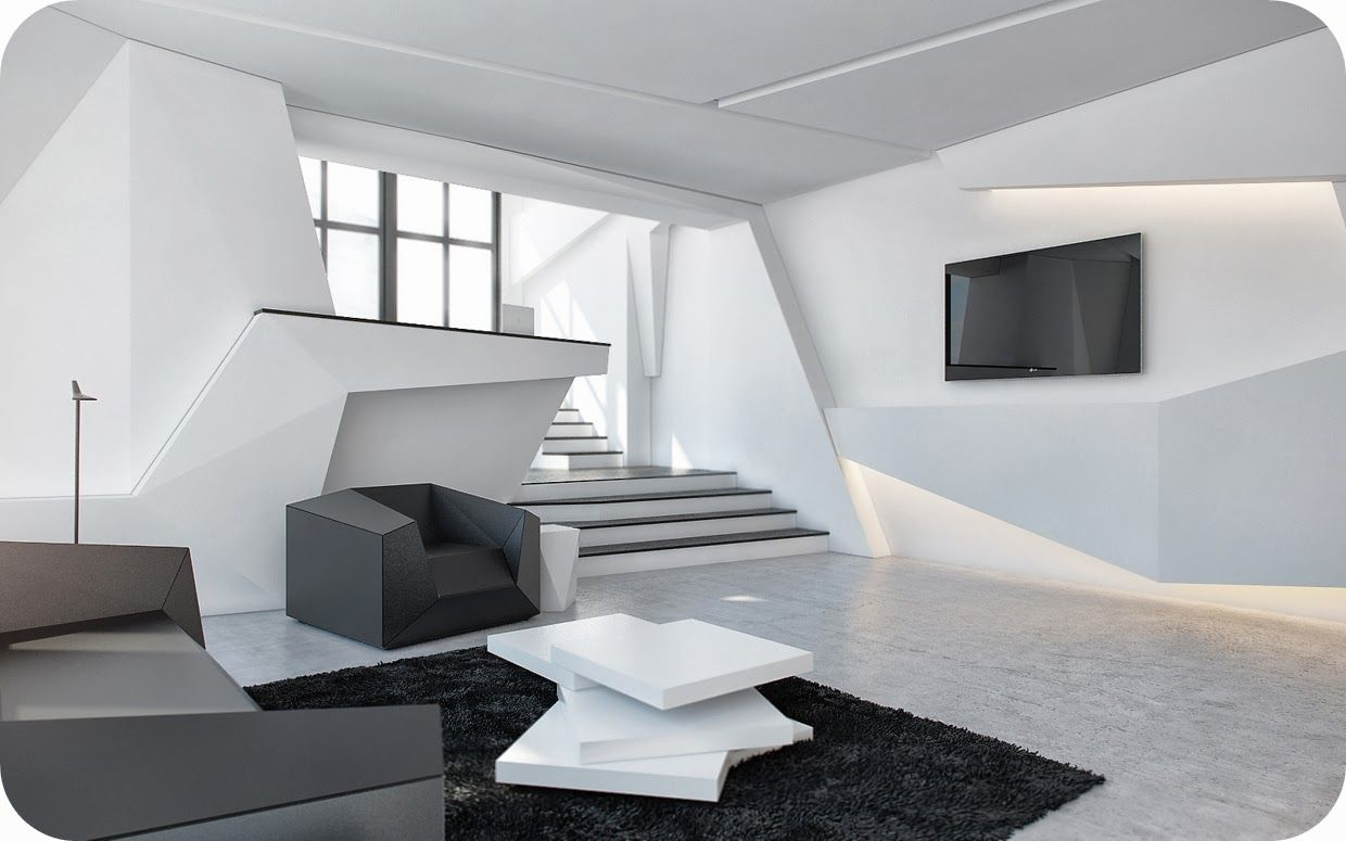 White stripes futuristic living room interior design integrated led - Interior Angular Living Room Fur Rug With White Murbel Floor Black Sofa And Staircase Black Tv Led Amazing Futuristic Interior Des