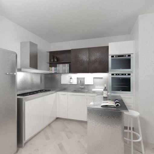 Cucina moderna ad angolo con tavolo scorrevole a scomparsa in acciaio inox elmar project - Cucina con tavolo a scomparsa ...