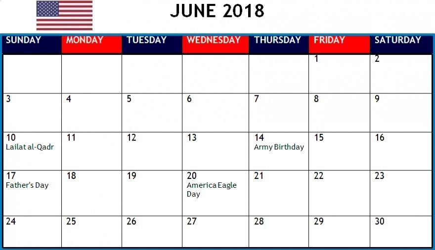 June 2018 Calendar For United States Holiday Calendar Calendar