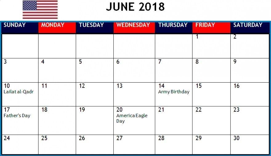June 2018 Holidays Calendar For Usa Holiday Calendar 2018