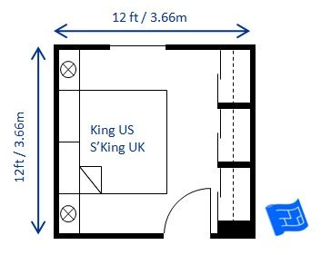 Small bedroom design for a king size bed superking uk for A bedroom has a length of x 3