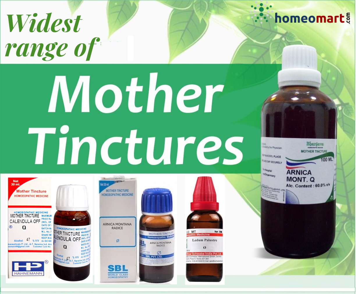 Homeopathy Mother Tinctures Q from A to Z of leading brands