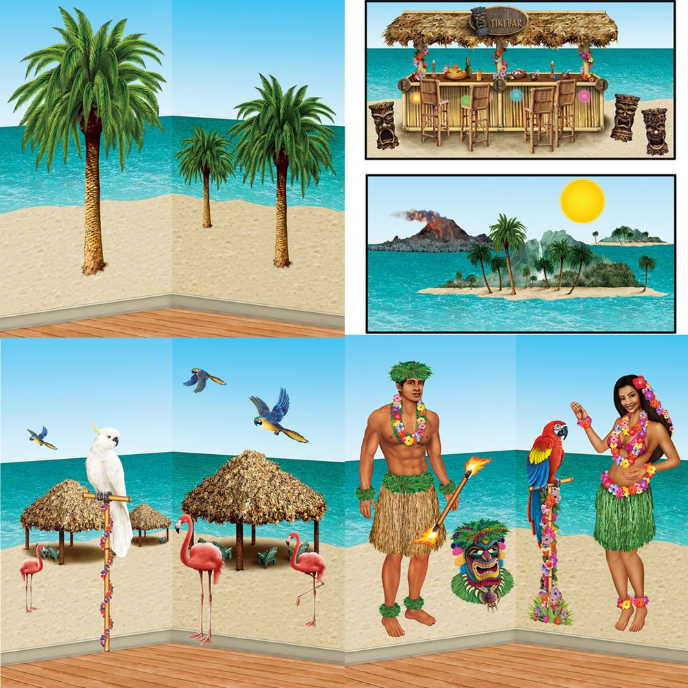 Hawaii party beachparty wandhintergrund poster strand sommer poolparty deko
