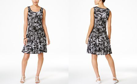 Style & Co. Leaf-Print Sleeveless Dress, Only at Macy's