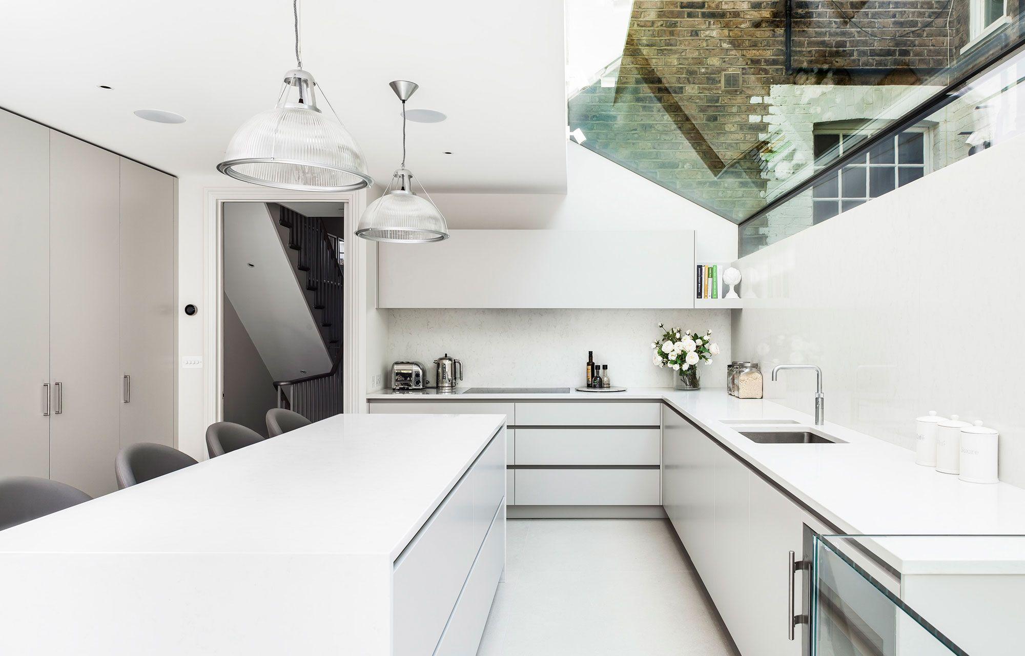 Küche, Weis, Kochinsel, Hell, Gestaltung, Beleuchtung ...