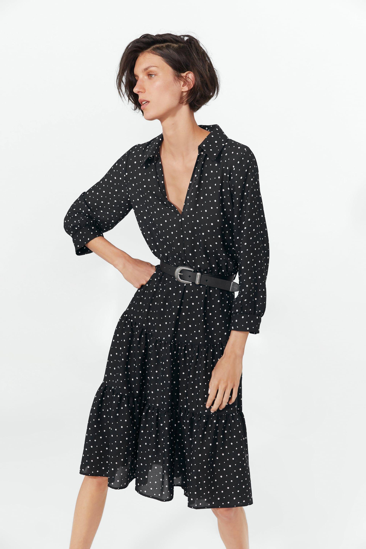 6ddb937c Polka dot belt dress in 2019 | 2019 Spring | Zara outfit, Belted ...