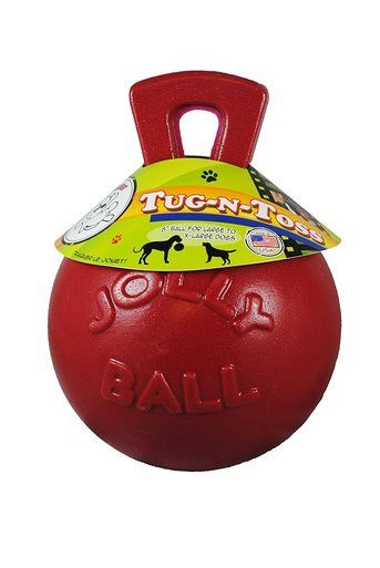 Jolly Pets Tug N Toss 8 Inch Red Rubber Ball With Handle Chew