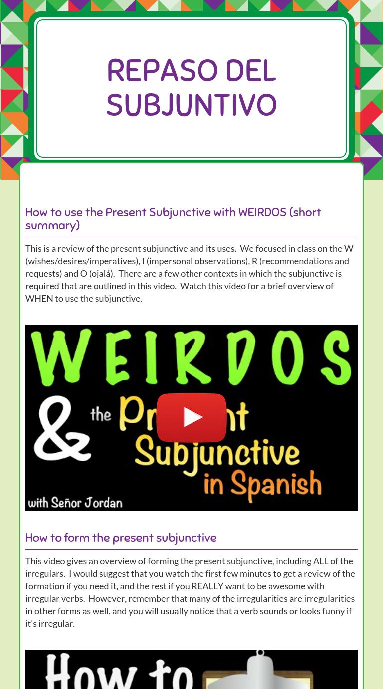 Wizer Me Blended Worksheet Repaso Del Subjuntivo Spanish Teaching Resources Spanish Grammar Activities Teaching Spanish [ 1380 x 768 Pixel ]