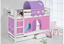 Literas caballeros y princesas blanca con cortinas frozen lila oferta dos somiers gratis - Caballeros y princesas literas ...