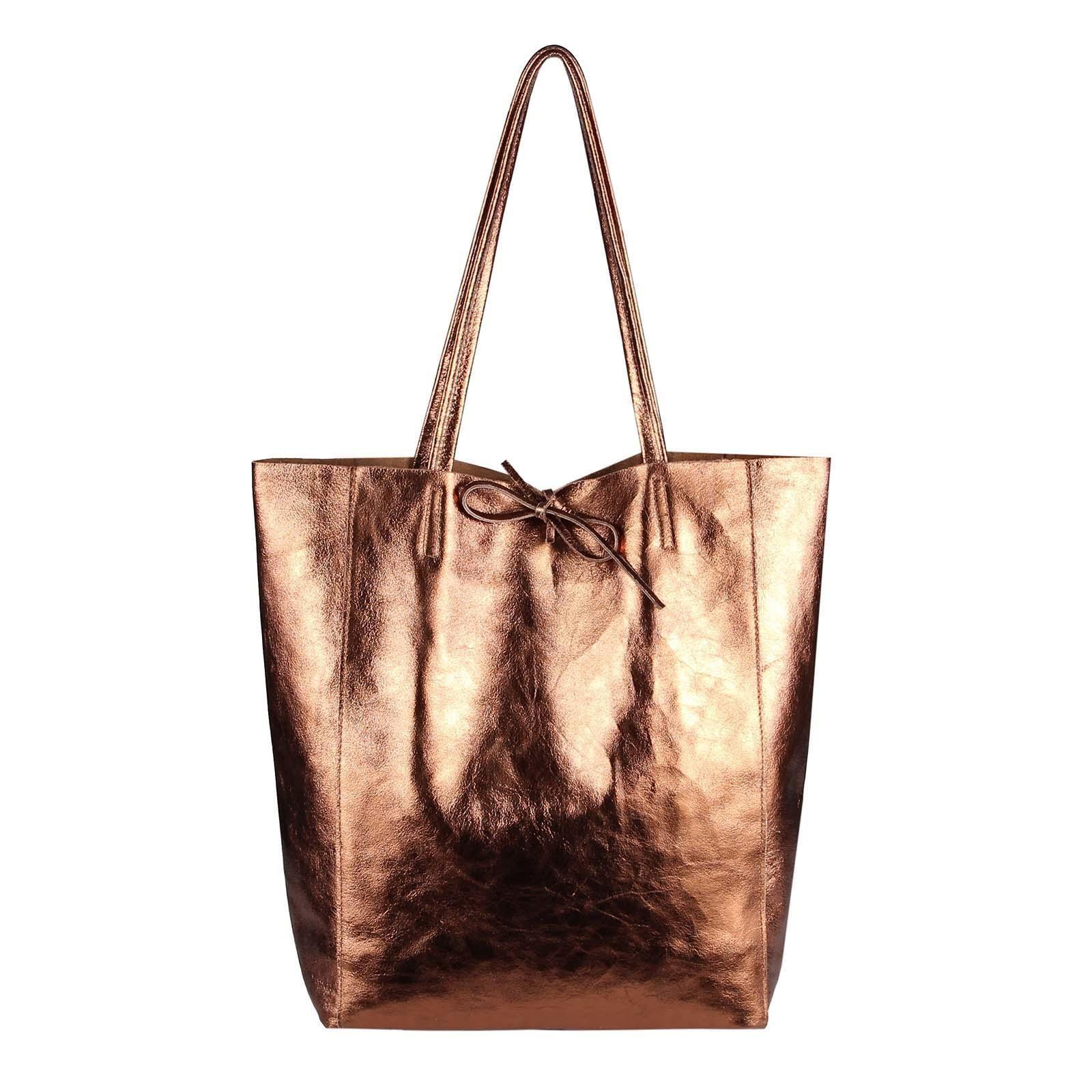 57349e47b72ec OBC Made in Italy DAMEN LEDER TASCHE DIN-A4 Shopper Schultertasche  Henkeltasche Tote Bag Metallic