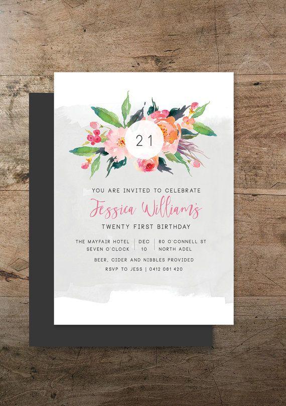 Double sided twenty first invitation printable by RachelVanderzon
