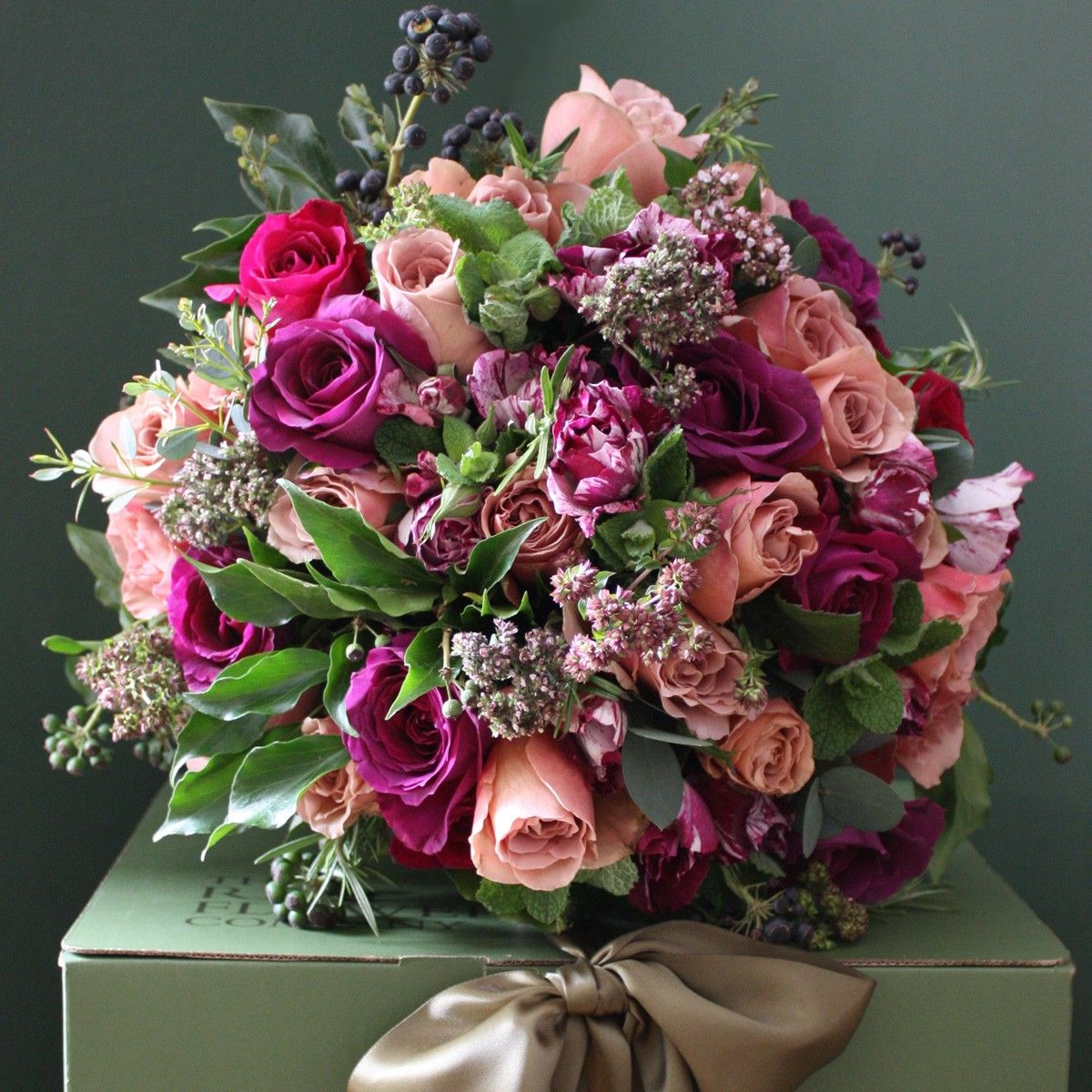 The Real Flower pany Antique Purple Luxury Bouquet Style in Flowers
