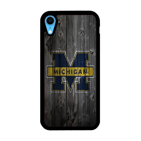 Michigan Wolverines University Logo Dark Wood Wallpaper