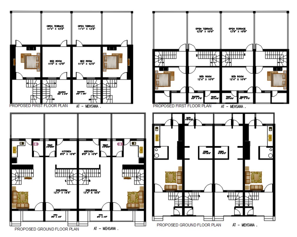 1 Bhk Row House Plan With Autocad File For Open Terrace Design Autocad Bhk Design File Row House Terrace Design Row House Design