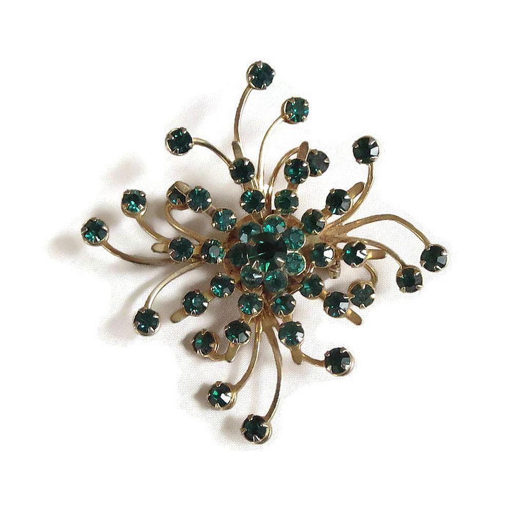Spiral Atomic Snowflake Brooch Vintage Emerald Green Rhinestones by MyVintageJewels on Etsy