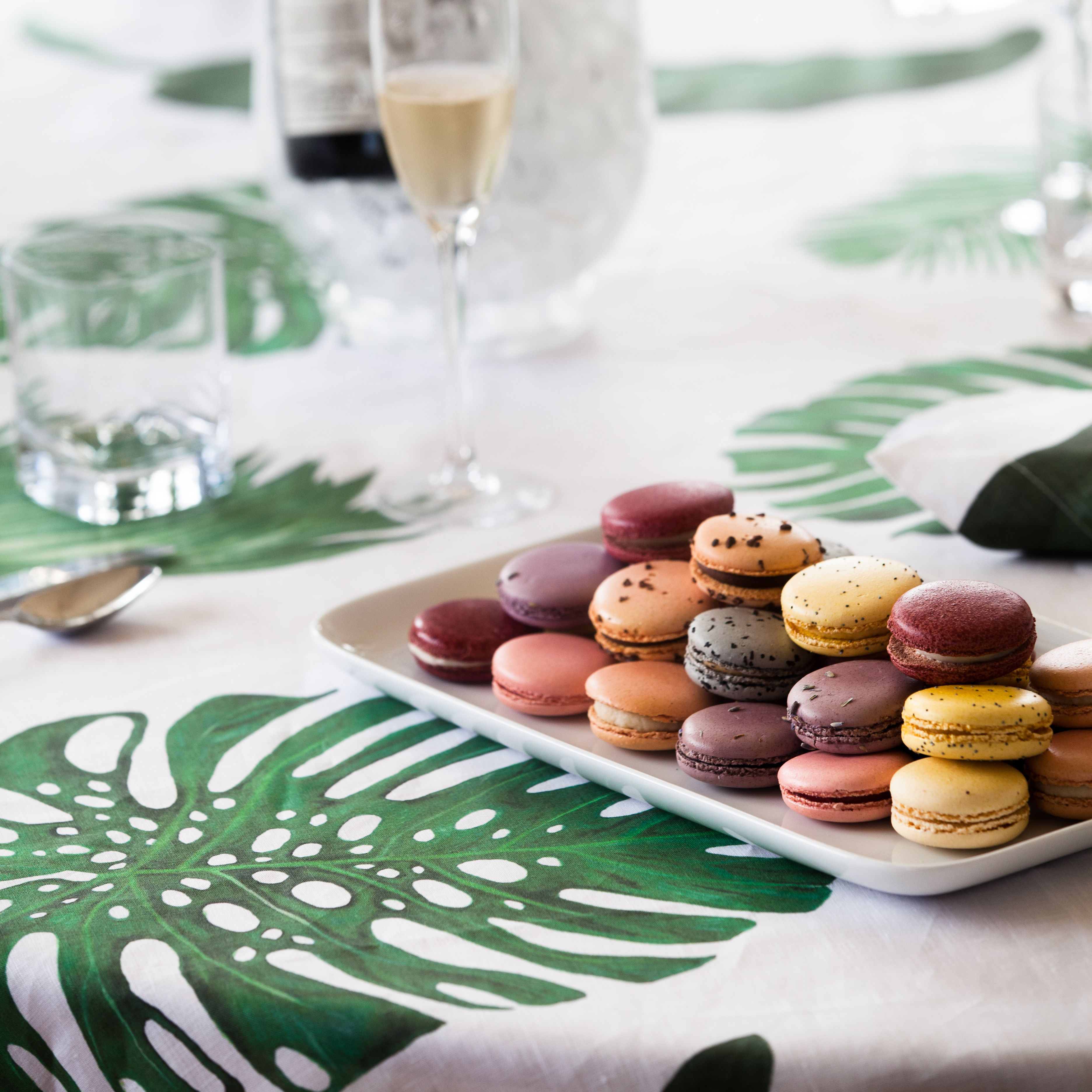 Huddlesonu0027s Tropical Leaves Tablecloth Features A Unique Watercolor  Painting Of Monstera, Banana And Palm Leaves In Rich Shades Of Green  Digitally Printed ...