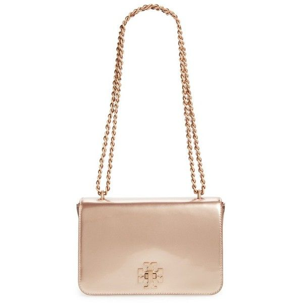 Women S Tory Burch Mercer Convertible Metallic Leather Shoulder Bag 305 Liked On Polyvore Featuring Bags Handbags Rose Gold