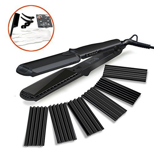 Accellorize Crimping Iron Set For Hair 4 In 1 Ceramic Plate Electric Crimpers And Wavers 2 Straightener Curling With Mini Small Loose Large