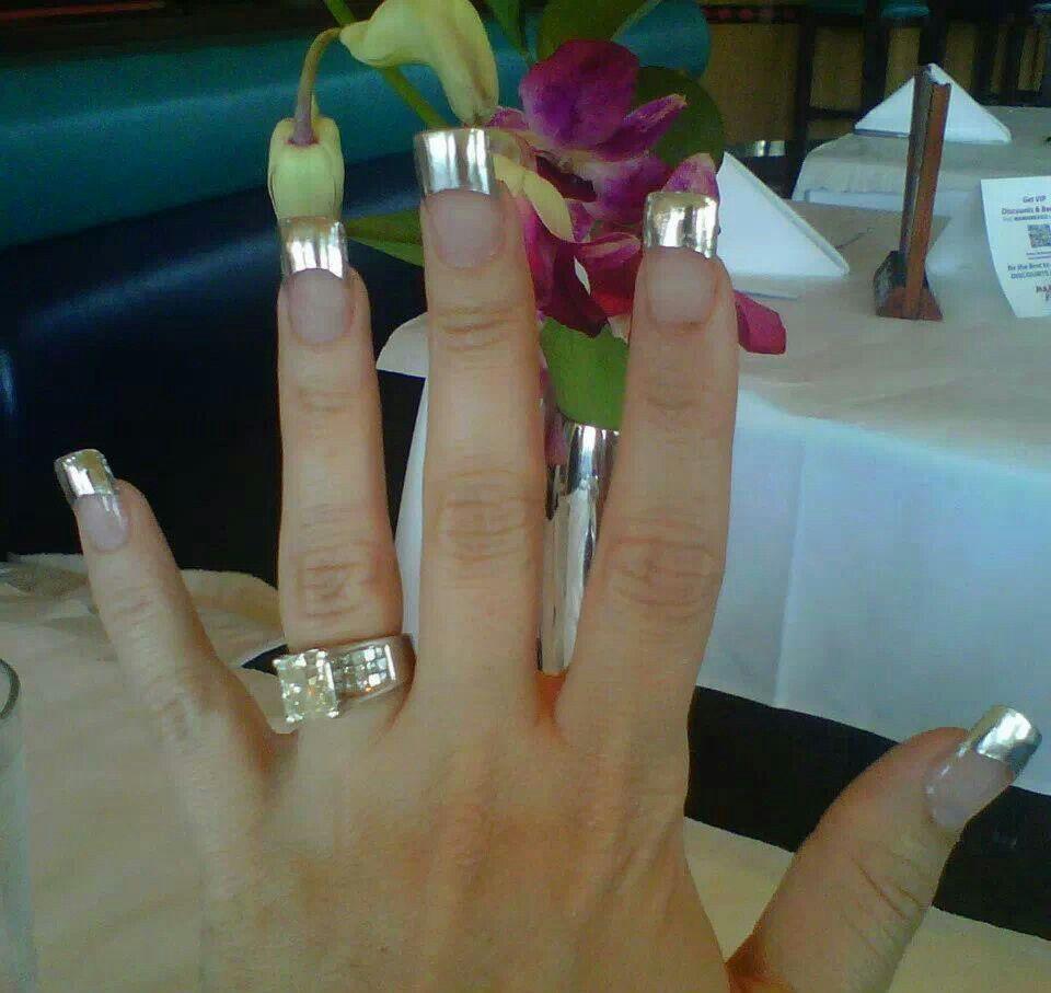 Chrome tip acrylic nails coco austin nail designs pinterest