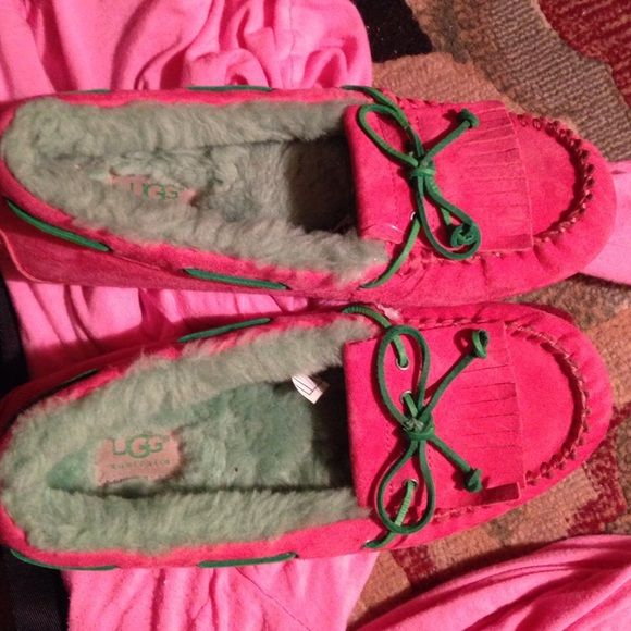 Ugg moccasins- bright pink and bright green NWOT NWOT SIze 9 UGG Shoes Moccasins