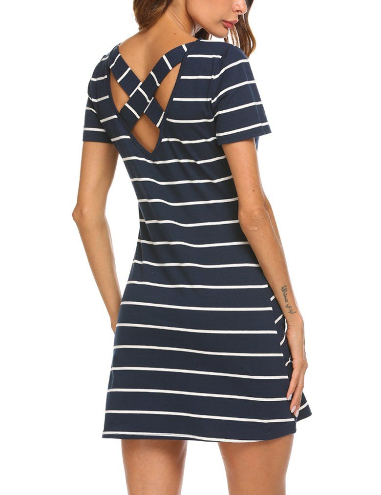 bd9faa041688 Feager Womens Cotton Short Sleeve Long Striped T Shirt Tops Dress with  Pocket Blue