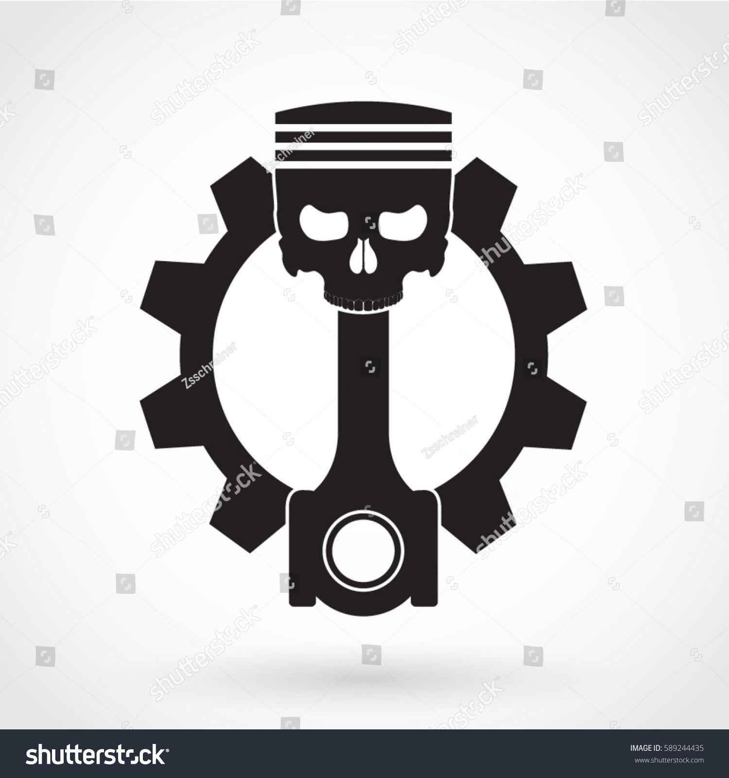 Silhouette Piston Skull With Gear Symbol Tatuajes Pistones Tatuaje Mecanico Tatuajes De Motocicletas
