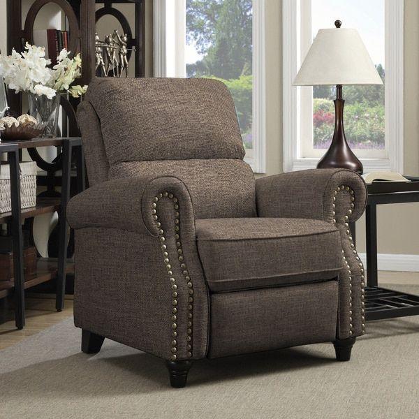 prolounger brown linen push back recliner chair | good