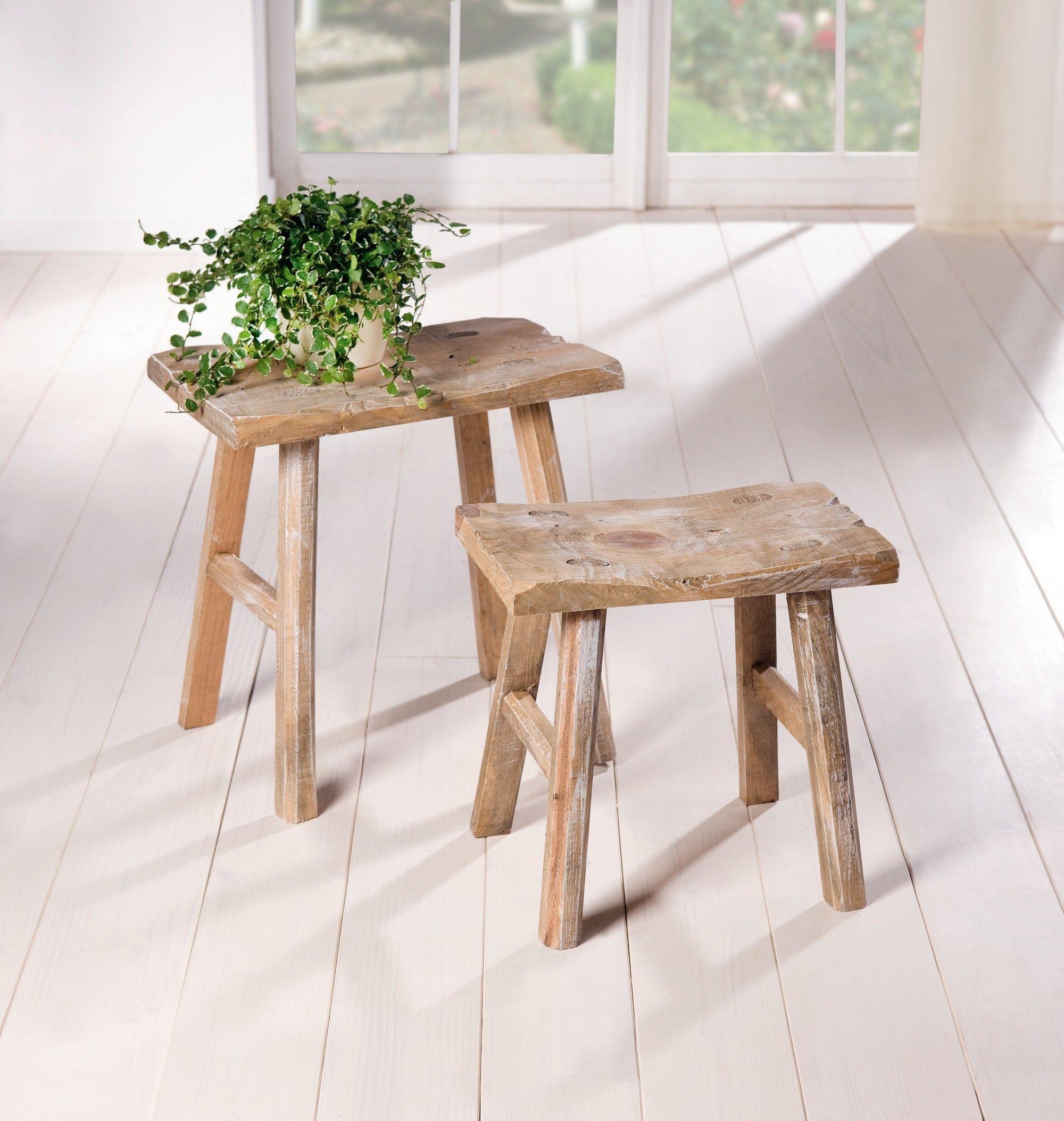holz hocker rustikal 2er set hellbraun gekalktes. Black Bedroom Furniture Sets. Home Design Ideas