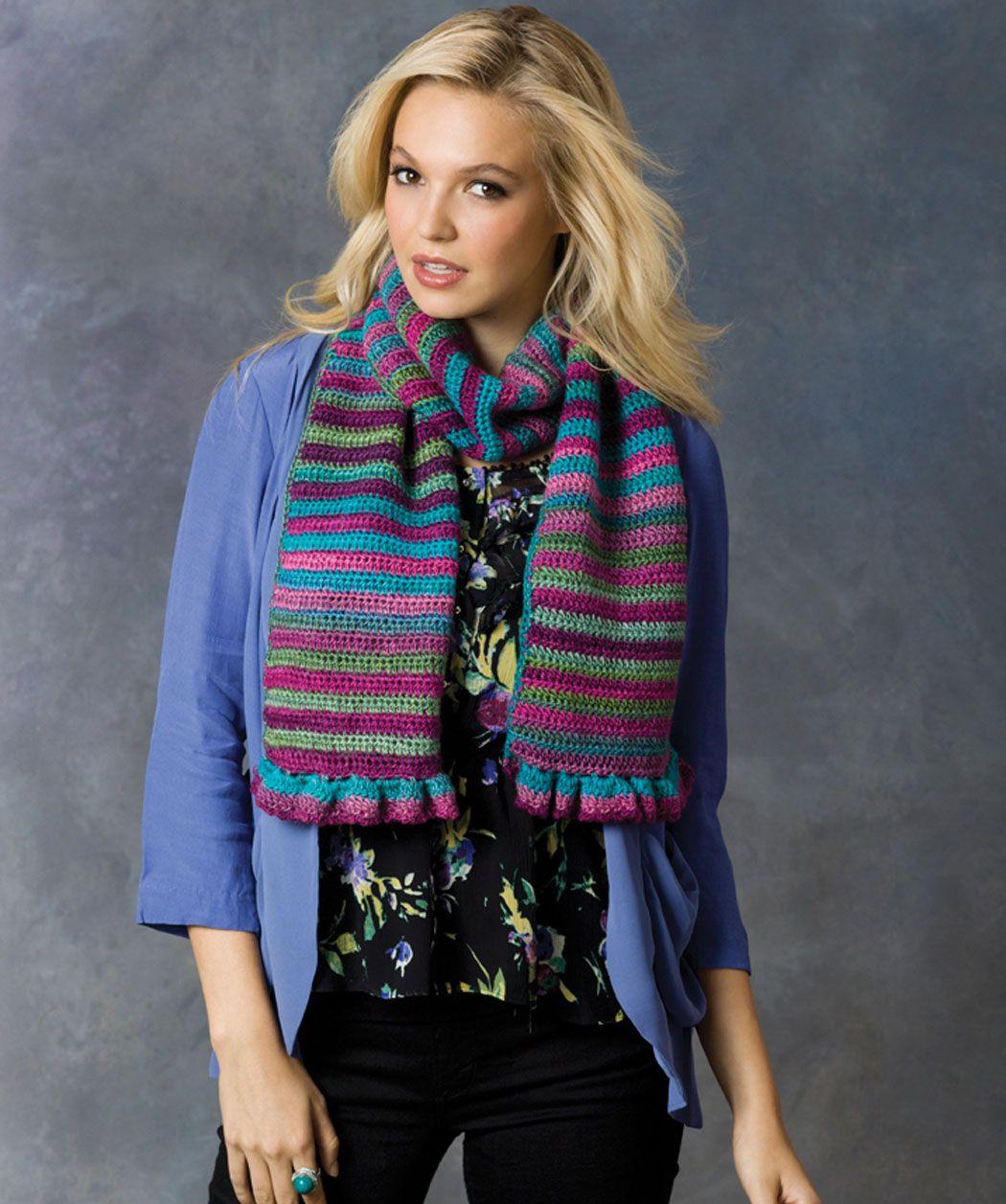 Striped Shades Scarf Crochet Pattern | Red Heart | Crochet - Scarves ...