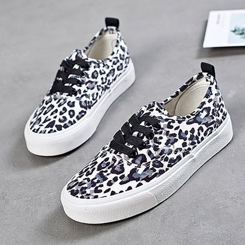 36a7982a64c4 Women Casual Canvas Sneakers Leopard print Slip-on Shoes – Mollyca ...