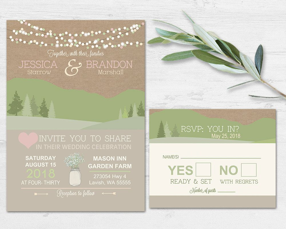 Mountain Wedding Invitations - Rustic Natural Wedding Invites with ...