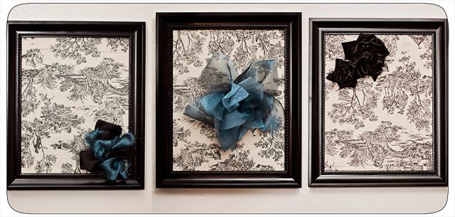 Framed fabric with flowers