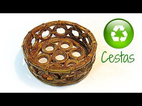 cmo hacer cestas de papel periodico how to make basket paper youtube