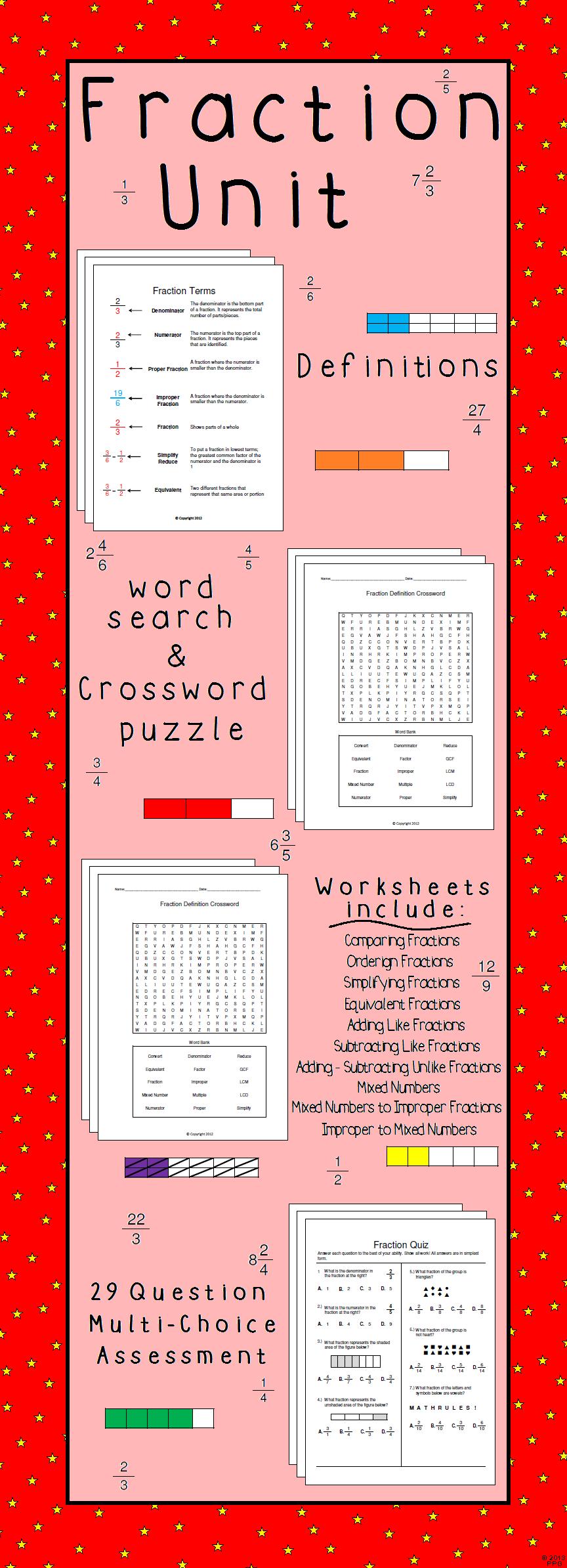 Fraction Unit Worksheet Bundle Teacher Gameroom Products