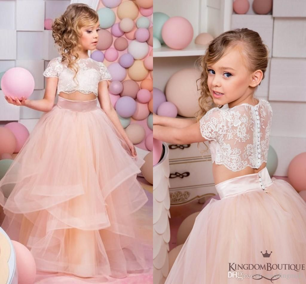 Coral Two Pieces Lace Ball Gown Flower Girl Dresses Vintage Child ...
